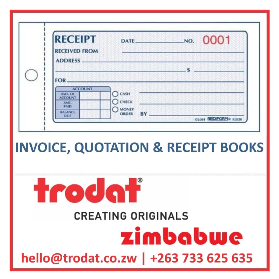 Invoice, Quotation & Receipt Books in Zimbabwe